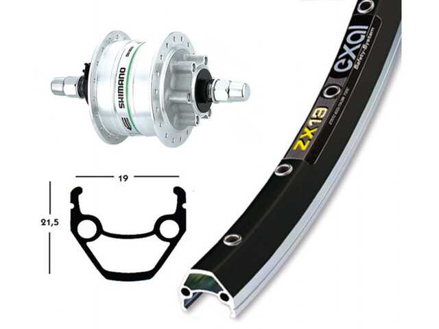 Exal ZX 19 V Wheel 28 x 1.75, Shimano DH3D30, silver/black